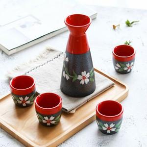 Nuovo vaso di vino bianco dono fiori di ciliegio tazza di compleanno distributore di vino di frutta set ciotola vino sake liquori 5pcs / set dipinto a mano giapponese