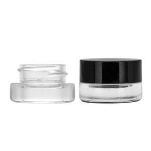 Tarro de grado alimenticio antiadherente 3 ml 5 ml de vidrio templado del envase de cristal Cera Dab Jar seca la hierba del envase con tapa Negro EEA899
