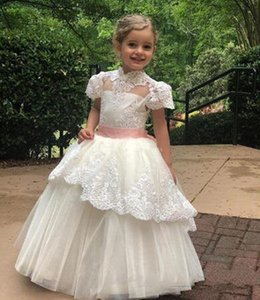 2020 Vintage Flower Girl Dresses A Line High Neck Girls Pageant Dresses With Lace Applique Overskirts For Wedding First Communion