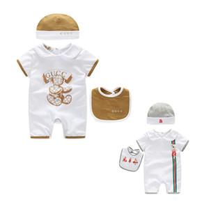 Vendas QUENTES 3 Pçs / set Bebê Meninas Roupas de Marca Crianças macacão + chapéu + Babador de Algodão Roupas de Bebê Menino Conjuntos de Roupas de Bebê Recém-nascido