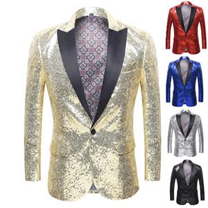 La más nueva manera de los hombres de las lentejuelas Blazer Party Show elegante traje sólido Blazer negocio boda fiesta exterior blusa Tops envío gratis