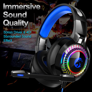 PS4 Xbox Gaming Headphones LED Flash Running Light PC Computer Game Headseteor Noise إلغاء سماعة القناة 7.1