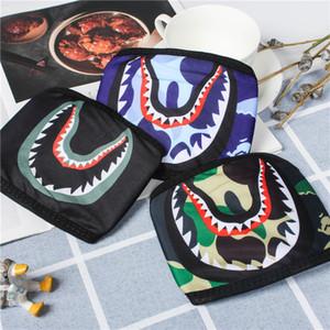 Shark maschere Camouflage uomo scimmia Maschera di Hip Hop Trendy fronte mezzo Bocca mascherina mascherine partito esterno 7 colori