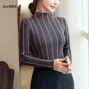 Maglione dolcevita a righe SEXMKL donna 2019 Maglione spesso invernale Maglione lavorato a maglia rosso coreano da donna Maglione lavorato a maglia nero Top Femme