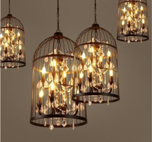 Américain vintage lampe suspension Bird Cage lustre en cristal Home Deco E14 ampoule villa Rust Iron industriel restaurant Bar lustre lumière