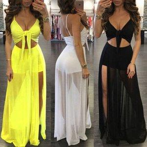 Summer Women Beach Wear Women Deep V Neck Waist Hollow Out Mesh Chiffon Maxi Long Dress Overall Beach Holiday Sundress