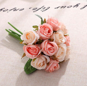 Artificial flor de las rosas 12pcs / lot de la boda de la flor de las flores de seda decorativo Simulación decorativo Ramo 10 colores OOA7266-1