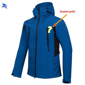Impressão personalizada Esporte Ao Ar Livre Roupas Caminhadas Homens Caça Pesca Softshell Jaqueta de Lã Térmica À Prova D 'Água Com Capuz Aquecido Casaco