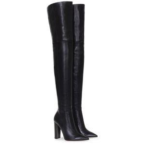 Moda Sobre O Joelho Mulher Botas de Couro Nu Grosso De Salto Alto Coxa Botas Mulher Black Boate Vestido Sapatos Tamanho Grande 34-45