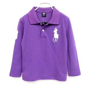 2020 Polo per bambini maglietta dei bambini risvolto maniche lunghe bambino maglietta di polo dei ragazzi Top Abbigliamento Marchi ricamo Tees cotone ragazza magliette