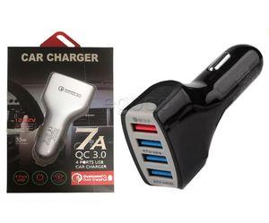 QC3.0 4USB 차량용 충전기 7A 적응이 빠른 소매 패키지와 홈 여행 충전 플러그 케이블 USB 케이블의 경우 휴대 전화를 충전