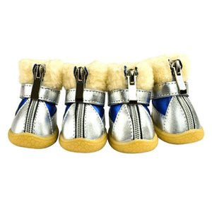 4pcs Thick Fur Dog Shoes Anti-slip Pet Shoes Dog's Boots Waterproof For Small Dogs Winter Warm Snow Boots Teddy Poodle For Puppy