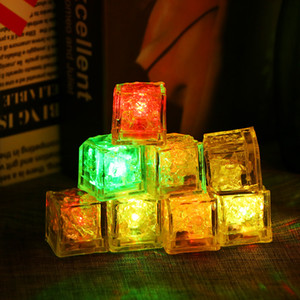 LED Ice Cubes Lights Party Night light Slow Flashing 7 Color Changing led lamp Crystal Cube Valentine's Day Party Wedding Holiday light