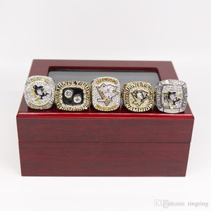 Drop Shipping 5PCS Pittsburgh Penguins Stanley Cup Championship Ring Set With wooden display box Fan Men Gift Wholesale
