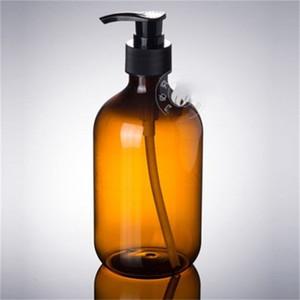 300ml thé couleur Flacon pompe de pression PET douche cou mince Bouteilles Gel Shampooing Distributeur de savon Accessoires de bain 1 75xmH1