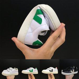 First Walkers Platform kids Designer Shoes Reflective veja Velvet White Golden Children's Casual Sneakers Party Fashion Leather flat Shoes