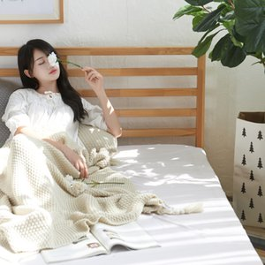 Fashion Tassel knitted Blanket Aircraft Home Sofa Office Air Conditioner Blanket Towel Travel Mesh Portable Car Cover