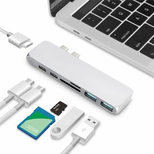 Dual Ports USB C Type-C HUB to 4K HDMI Adapter Thunderbolt 3 Dual USB 3.1 Data Type-C Hub TF SD PD Adapter for MacBook Pro Air 13 2018