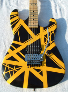 Пользовательского Kramer Wolf Edward Van Halen 5150 Yellow Stripe Black Guitar Electric Floyd Rose тремоло, Maple Neck Накладка