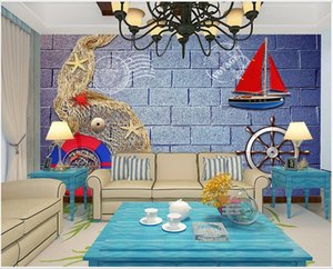 3d room wallpaper custom photo non-woven mural Brick wall fishing net Mediterranean style background wall self adhesive 3d wall murals