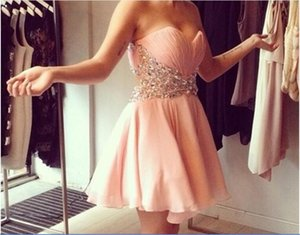 Pink Sweetheart Crystal Short cocktail dresses Prom Dresses Sleeveless Ruched Short Homecoming Dresses Party Evening Gown