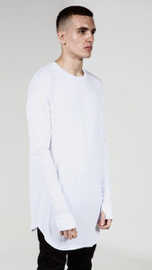 확장 힙합 T 셔츠 남성 하이 로우 사이드 엄지 손가락 구멍 분할 t- 셔츠 긴 소매 타이가 스웨그 맨 T 셔츠 크루 넥 의류 트렌드