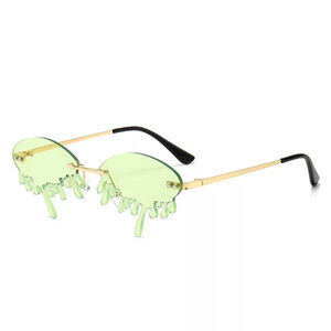 2020 heiße Verkaufs-Drip-Riss-Sonnenbrille Marke Designer Randlos Tropfen Wasser Frauen Sun-Glas 8 Farben Wholesale kühlen