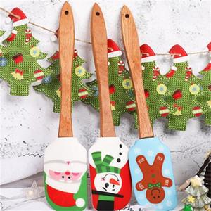 Serie de Navidad Raspador Pastel Herramientas para hornear Raspadores Dibujo coloreado Estilos múltiples Mango de madera Mantequilla de silicona Escurridor Creativo 9yb L1