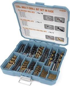 Hi-Spec 130pc Drill-Coated titanio Bit Set HSS Acero Bits Masonary Taladro herramienta eléctrica accesorios para metal plástico Tratamiento de la madera