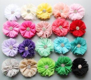 7cm Weiche Chic Chiffon Shabby Blumen mit Kristallflatback Flet Blumen für Kinder Hairpin Hair Zubehör Craft Blumen DIY Baby-Stirnband