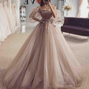 Princess Off the Shoulder Tulle Prom Dresses Half Sleeves Pleats Appliques Formal Evening Dress Plus Size Party Gowns Cheap