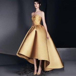 2020 Vintage ouro Applique Prom vestido de cocktail sem alças Alto baixo Ruffle Vestido de Noite New design vestidos de regresso a casa de alta qualidade