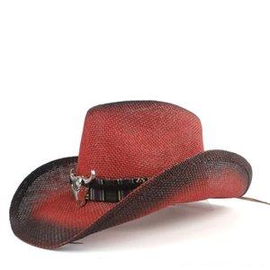 2019 Femmes Hommes Straw Hat creux Western Cowboy Lady rouge Bohême Tassel Sombrero Chapeaux Casquettes Chapeaux, Gants Echarpes Hombre Jazz Plage de cow-girl
