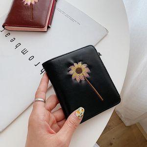 Фабрика оптом женская сумка вышитый короткий кошелек ретро кожа сплошной цвет женские кошельки цветок вышитые мода кошелек