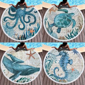 Retro Vintage Sea Life Beach Towel Octopus Turtle Whale Seahorse Print Microfiber Round Fabric Bath Towels For Living Room Home Decorative