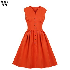 Womail dress summer Vintage senza maniche scollo a V Solid Mini Dress party Holiday elegante Beach Swing Button Casual 2019 M524