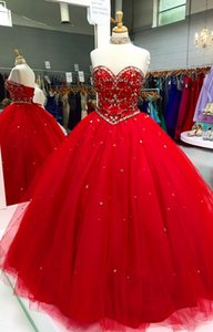 Classic Red Quinceanera Prom Dresses Ball Gown 2020 Strapless Sparkly Crystals Beads Lace-up Tulle Sweet 16 Vestidos De Novia Plus Size
