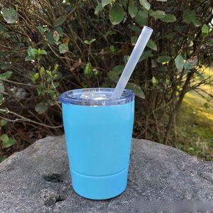 9oz нержавеющей стали массажер дети кружки черешка фужеры красочные напольные чашки кофе вода Молоко с соломкой и Lids бесплатной доставкой