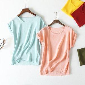 Été l'arrivée de nouveaux de haute qualité 100% courte blouse dame de bureau de soie à manches Y200623