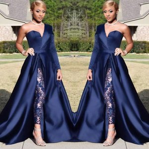 Elegant A Line Evening Dresses One Shoulder Dark Navy Split With Pant Suits Formal Prom Party Gowns Jumpsuit Celebrity Dresses BC0282