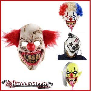 Korkunç Palyaço Maskesi Cadılar Bayramı Sahne Karnaval Parti Maskesi Korkunç Palyaço Yetişkin Erkekler Lateks Şeytan Palyaço Maskesi
