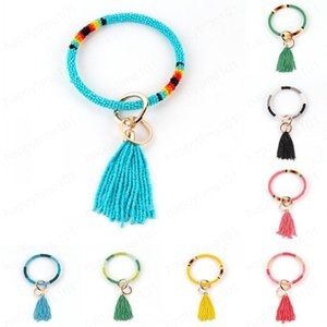 Women Tassels Bracelets Beads Wrap Key Ring Mixed Colors Keychain Wristband Bohemia Drip Oil Circle Bangle Chains Wristlet