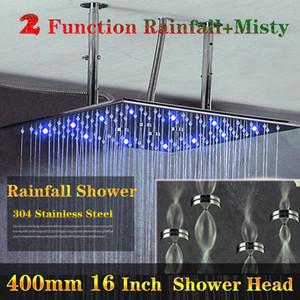 400x400mm Modern LED Chuveiro Cabeça Teto Dupla Chuva Névoa Overhead Banho de Chuveiro Produtos de Banho de Alta Qualidade