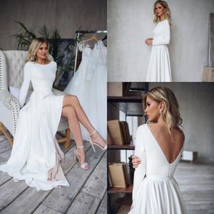 2020 Boho abito da sposa a maniche lunghe Alto Basso Abiti da sposa elegante Backless Vestido De Noiva Lorie Boemia Abiti da sposa per le donne