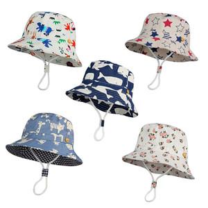 Дети Ковш шапки Детские шапки Скупой Брим животных звезды Цветочные печати Fisherman шлема Sun пляжа Складные Caps M1952