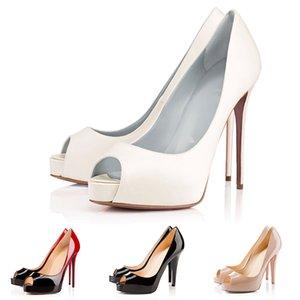 Con la caja de la bolsa para polvo Nuevas mujeres del diseñador de moda de lujo zapatos rojos de tacón Peep Toes de charol Bombas de fondo vestido de novia 12CM Zapatos