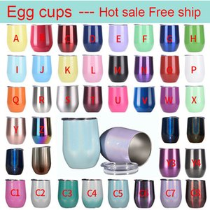 12oz Stainless Steel Wine Glasses Egg Cups Colourful Stemless Wine 340ml Glasses with Lid Shatterproof Vacuum U shape Red wine cup drop ship