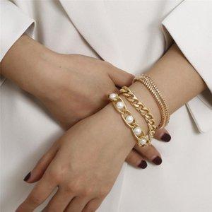 3pcs set Vintage Snake Chain Bracelets Women Punk Bracelet Bangle Metal Imitation Pearl Bracelet Bohemian Wrist Chains Jewelry