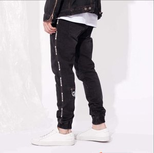 High Street Spring Sports Mens Designer Jeans Black Zipper Design Stylish Cool Pencil Pants Long Trousers