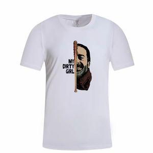 Speg O Negan Lucille Camiseta Homens Tv T em torno do pescoço Masculino de manga curta T-shirts Roupa de caracteres Tops Preto Xxxl